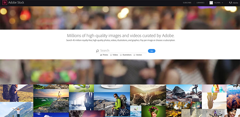 search an image in adobe stock